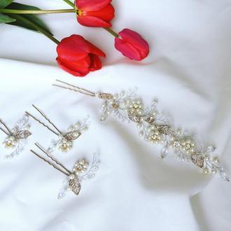 """Комплект для невесты """"Жемчужные цветы"""""""
