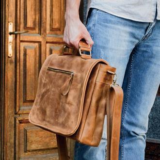 Мужская кожаная сумка мессенджер РОДЖЕР. Кожаный мужской портфель для ноутбука
