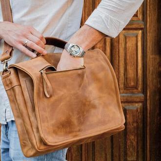 Мужская кожаная сумка для докуметов, Кожаный портфель для ноутбука