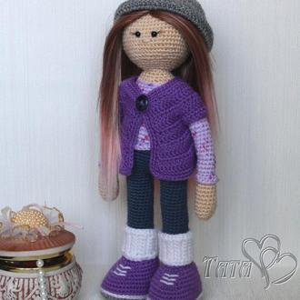 Кукла вязаная крючком Куколка в сиреневом наряде Интерьерная игровая игрушка Подарок девочке
