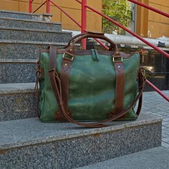 Кожаная сумка для ноутбука и документов, Зеленый мужской портфель