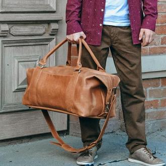 Коричневая кожаная дорожная сумка, Спортивная мужская сумка