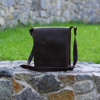 """Мужская коричневая сумка кроссбоди, Кожаный мессенджер """"Практик"""""""