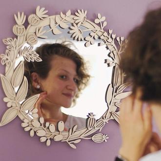 Зеркало с деревянной рамой Should Buy Wood  49 см Бежевая