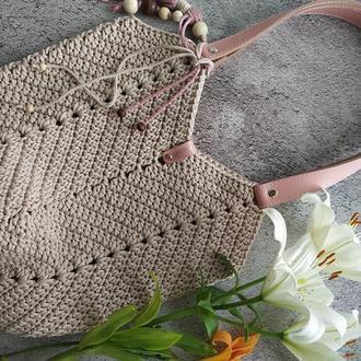 Женская Вязаная сумка, Пляжная сумка, Летняя сумка, Красивая сумка, Сумка лилия, Сумка Магнолия
