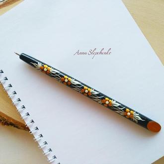 Деревянная шариковая ручка с росписью