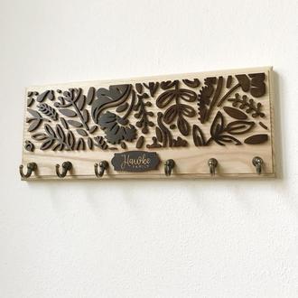 Ключница из дерева SMITH Should Buy Wood с узором именная 13х32 см Бежево-коричневая