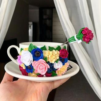 Чашка з блюдцем, квіткова чашка , кружка з декором , ложка з декором