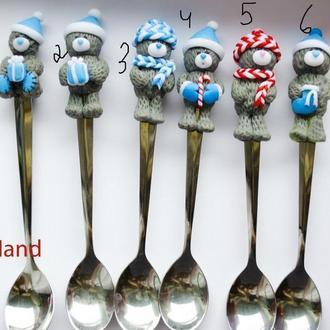 Ложка чайная мишка тедди  , ложка  из полимерной глины, ложка с декором тедди, ложка тедди