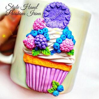 Чашка из полимерной глины, кружка с декором, чашка с декором из полимерной глины, вкусная чашка