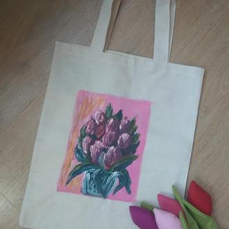Летняя белая сумка из льна с рисунком цветы тюльпаны и магнолия, ручная роспись