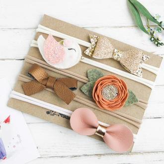 Подарочный набор повязок для девочки / Красивые повязки для малышки на день рождения