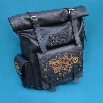 """Кожаный рюкзак """"СТИМПАНК"""" со скруткой"""