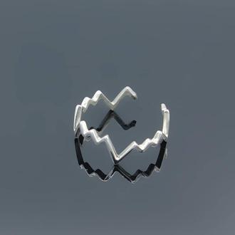 Серебряное кольцо Сердцебиение