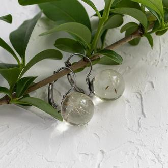 Серьги из ювелирной смолы с семенами одуванчика
