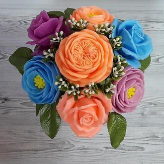 Букет цветов из мыла. Ароматическая композиция. Розы и Ранункулюс.