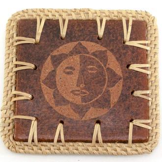 Подставка под горячее деревянная Солнце
