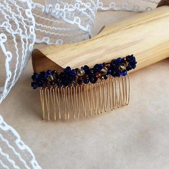 Темно синий с золотом гребешок, гребешок для волос, гребешок с цветами, подарок девушке