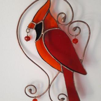 Витражная подвеска на окно « Красный кардинал »