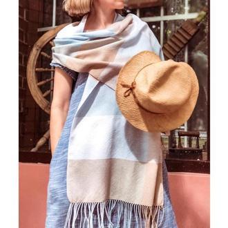 Летний тканый шарф из хлопка на шёлке
