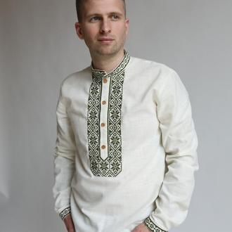 Чоловіча вишита сорочка молочна