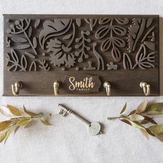 Ключница из дерева SMITH Should Buy Wood с узором именная 13х25 см Коричневая