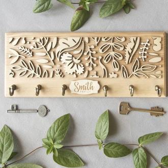 Ключница из дерева SMITH Should Buy Wood с узором именная 13х32 см Бежевая