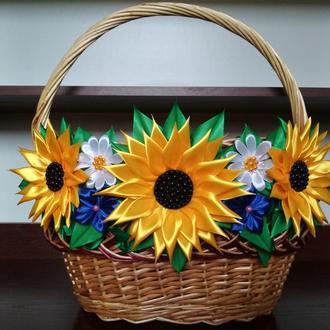 Пасхальная корзинка украшение на корзину цветы на корзину
