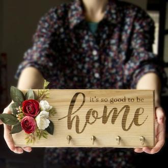 Ключница из дерева HOME Should Buy Wood с цветочной композицией 13х32 см Бежевая