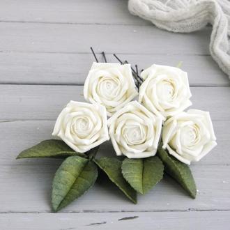 Шпильки с розами айвори / Свадебные шпильки для волос с цветами