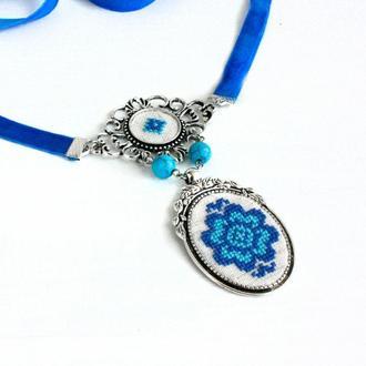 Бирюзовое колье под воротник Синий чокер с бирюзой в стиле этно Украинские украшения