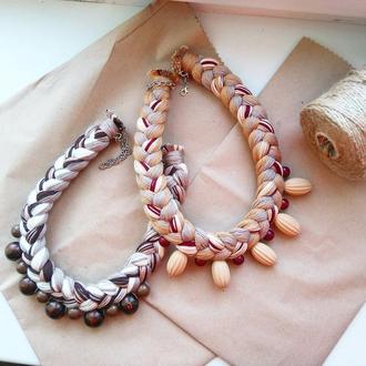 Колье-коса из натуральных хлопковых нитей