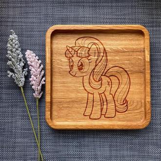 """Тарелка """"My little pony"""" из дуба с гравировкой 2"""