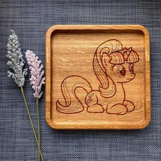 """Тарелка """"My little pony"""" из дуба с гравировкой 7"""