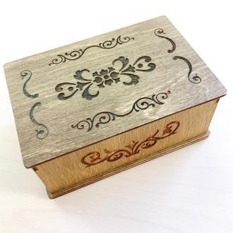 Оригинальная деревянная коробочка с крышкой для подарка, упаковки, хранения
