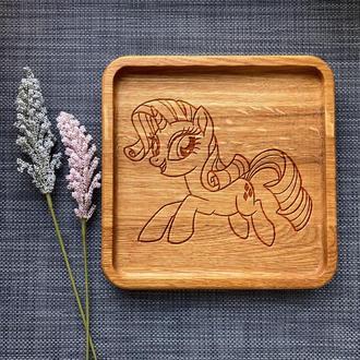 """Тарелка """"My little pony"""" из дуба с гравировкой 15"""