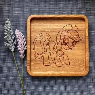 """Тарелка """"My little pony"""" из дуба с гравировкой 19"""