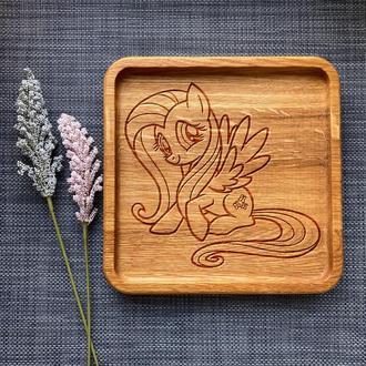 """Тарелка """"My little pony"""" из дуба с гравировкой 20"""