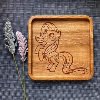 """Тарелка """"My little pony"""" из дуба с гравировкой 28"""