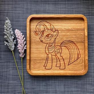 """Тарелка """"My little pony"""" из дуба с гравировкой 41"""