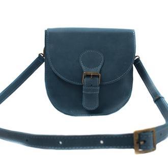 Компактная кожаная сумка на плече. 07007/голубой