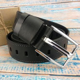 Ремень мужской кожаный под джинсы SF-451 black (125 см)