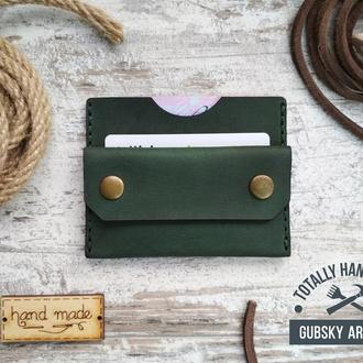 """Міні гаманець зелений портмоне монетниця карт холдер """"Everyday"""" 7 кольорів"""