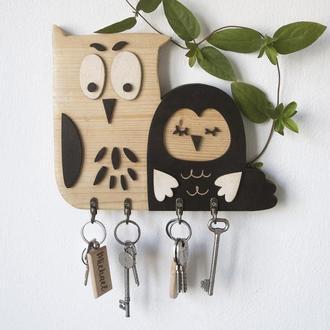Деревянная ключница OWL