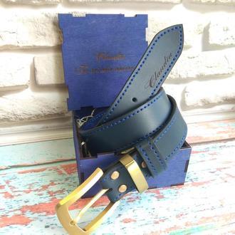 Ремень кожаный мужской синий с латунной фурнитурой