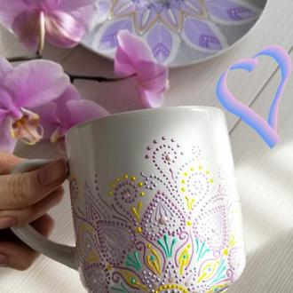 """""""Сиреневая мечта"""" чашка с росписью ручной работы"""