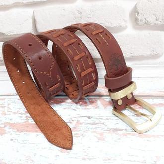 Ремень кожаный мужской коричневый с латунной фурнитурой