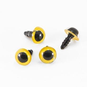 Глаза с Фиксатором и штифтом, для Игрушек, Круглые, Цвет: Золотистый, Размер: 10мм