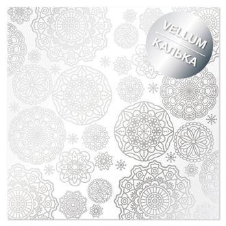Калька (веллум) Фабрика Декору 30,5*30,5см 90г с фольгированием Silver Napkins FDFMA-2-027