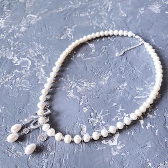 Комплект из натурального жемчуга в серебре с кристаллами циркона колье и серьги для невесты подарок жене